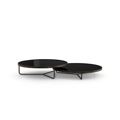 Modloft Adelphi Nesting Coffee Tables Glossy Black and Cathedral Ebony