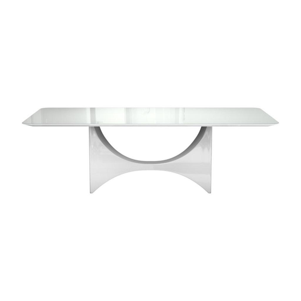 Modloft Camden Dining Table White Glass and Walnut