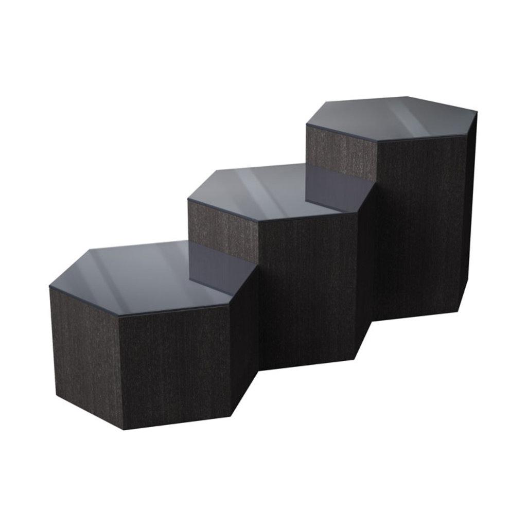 Modloft Centre 10 in. Occasional Table Asphalt Glass