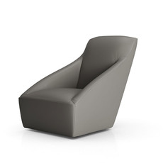 Modloft Forsyth Lounge Chair Warm Gray Leather