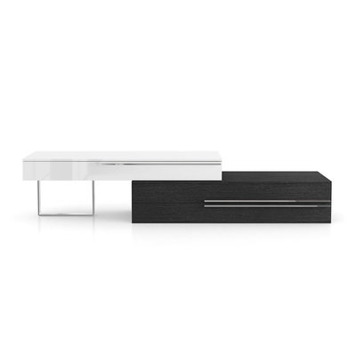 Modloft Gramercy Media Console Glossy White and Gray Oak