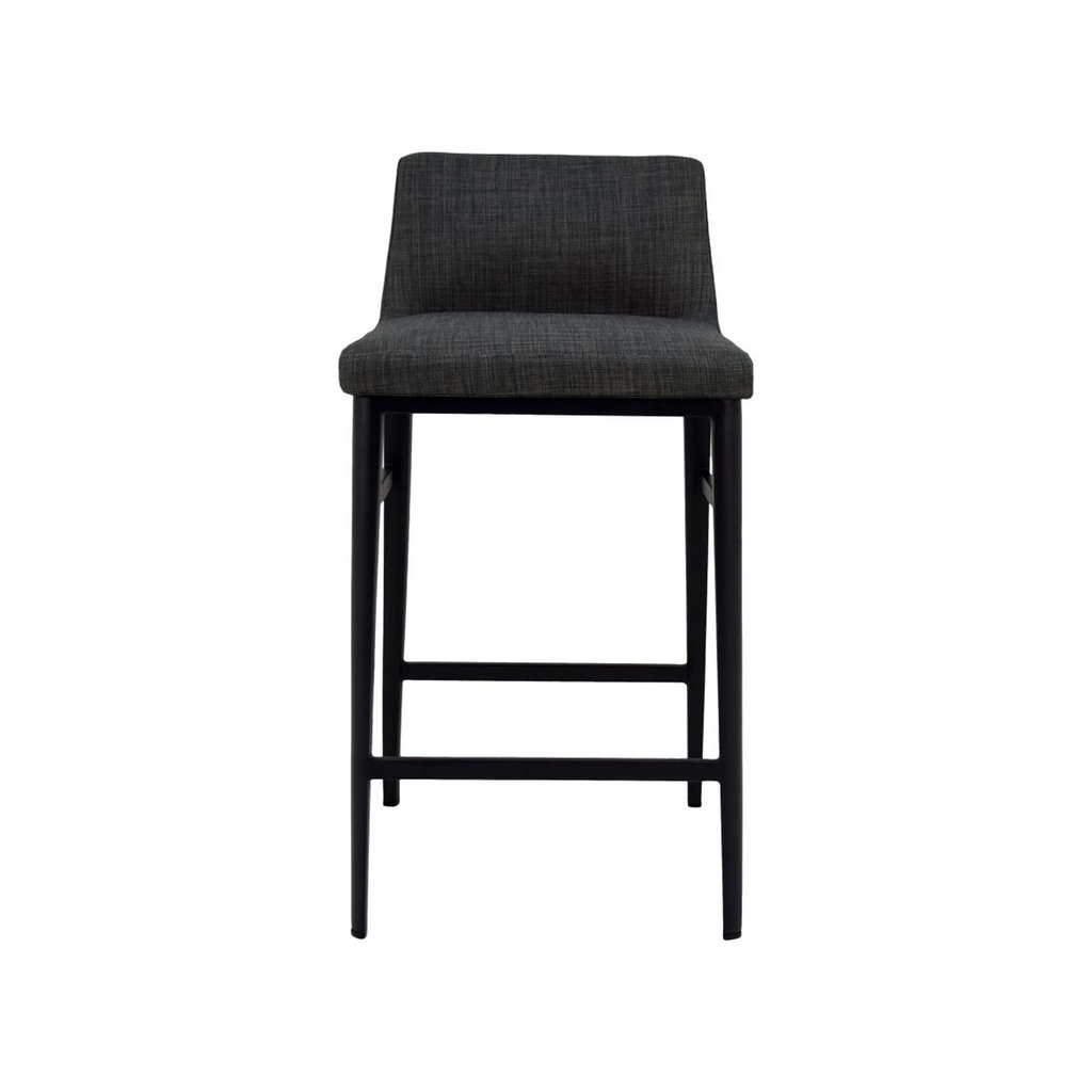 Moe's Home Collection Baron Counter Stool Charcoal Fabric