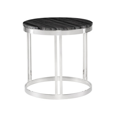 Nuevo Living Nicola Side Table Marble Top Steel Base