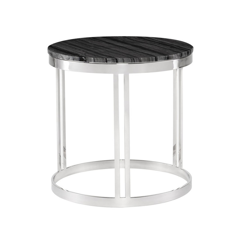 Nuevo Living Nicola Side Table Marble Top Steel Base