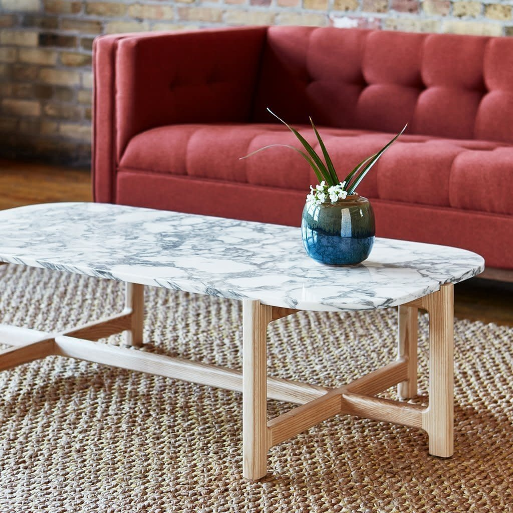 Gus Modern Quarry Rectangular Coffee Table Bianca Marble