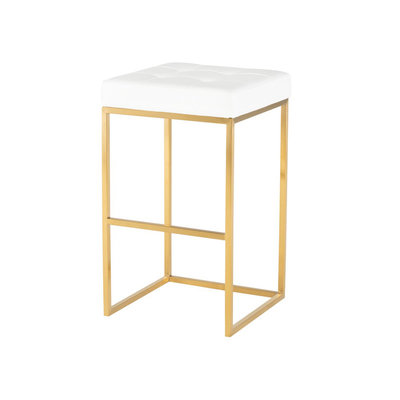 Nuevo Living Chi Bar Stool White / Gold