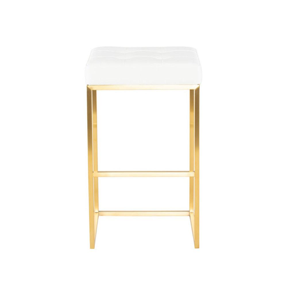 Nuevo Living Chi Bar Stool White / Gold