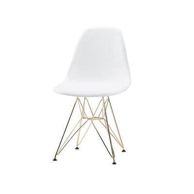 Nuevo Living Max Dining Chair White Shell Gold Legs