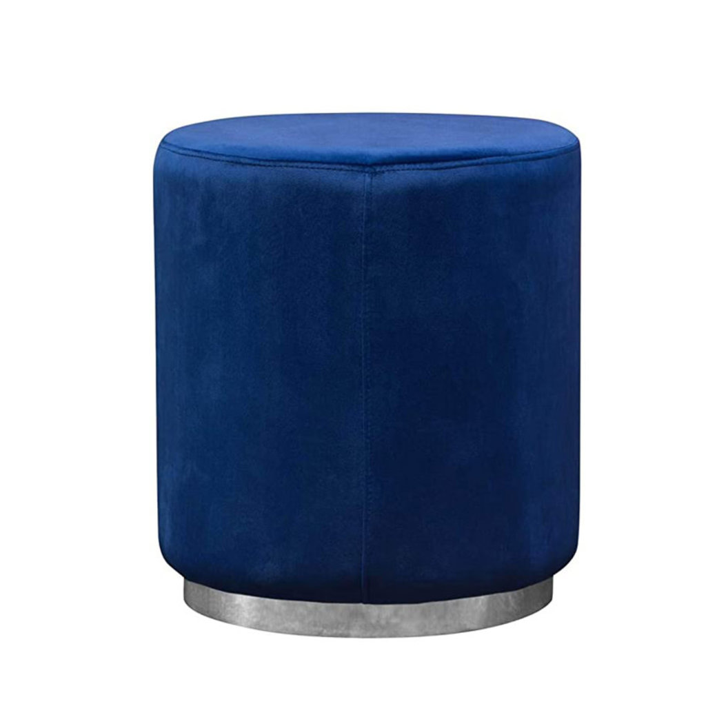 Diamond Sofa Sorbet  Blue Velvet Accent Ottoman