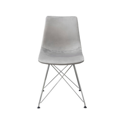Diamond Sofa Theo dining chair Gray velvet stainless steel base