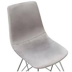 Diamond Sofa Theo dining chair Gray velvet stainless steel base