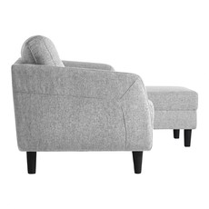 Moe's Home Collection Belagio Sofa Bed With Chaise Light Grey Right