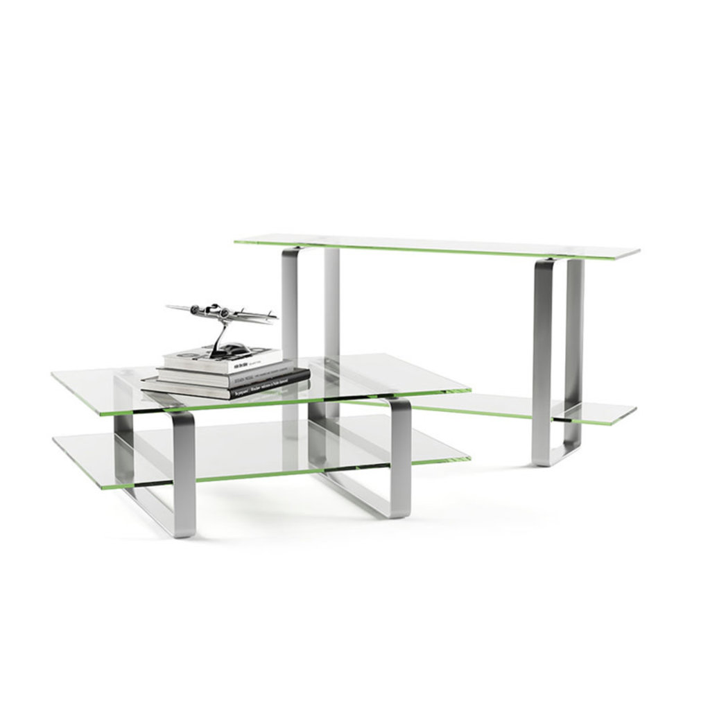 BDI Stream Clear Glass Console Table