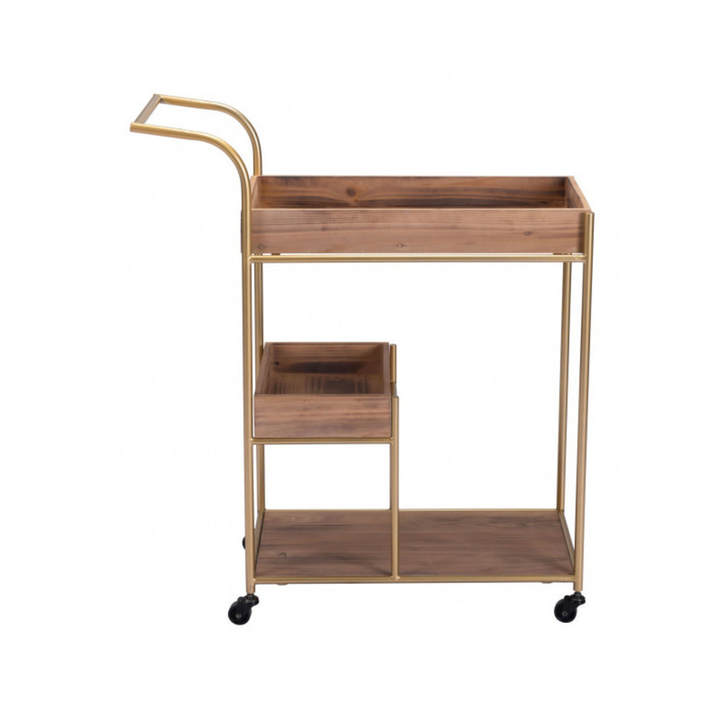 Zuo Modern Bar Cart With Tray Brown