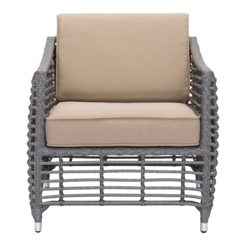 Zuo Modern Trek Beach Arm Chair Gray & Beige