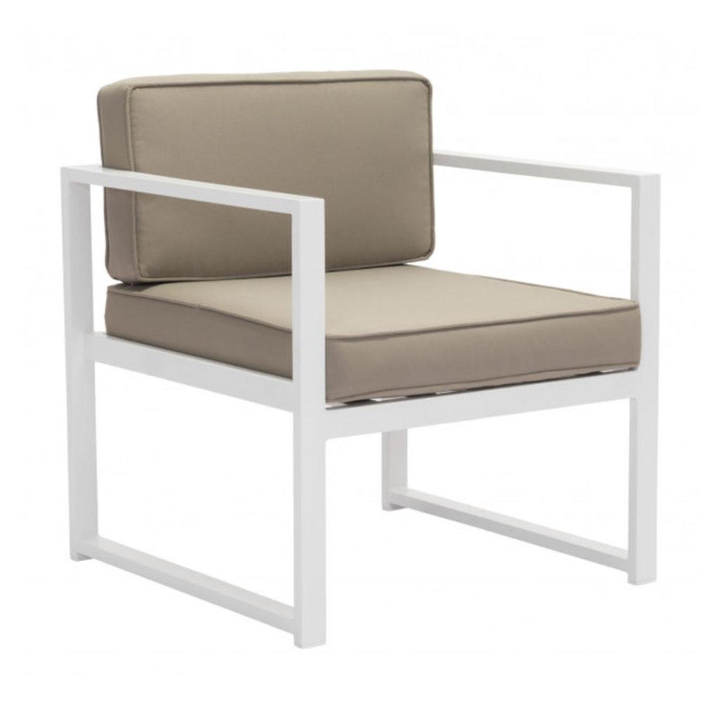 Zuo Modern Golden Beach Arm Chair White & Taupe