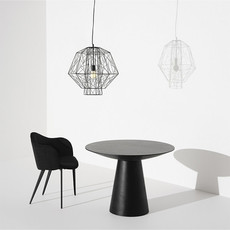 "Nuevo Living Dania 39"" Dining Table Black Top Wood Oak"