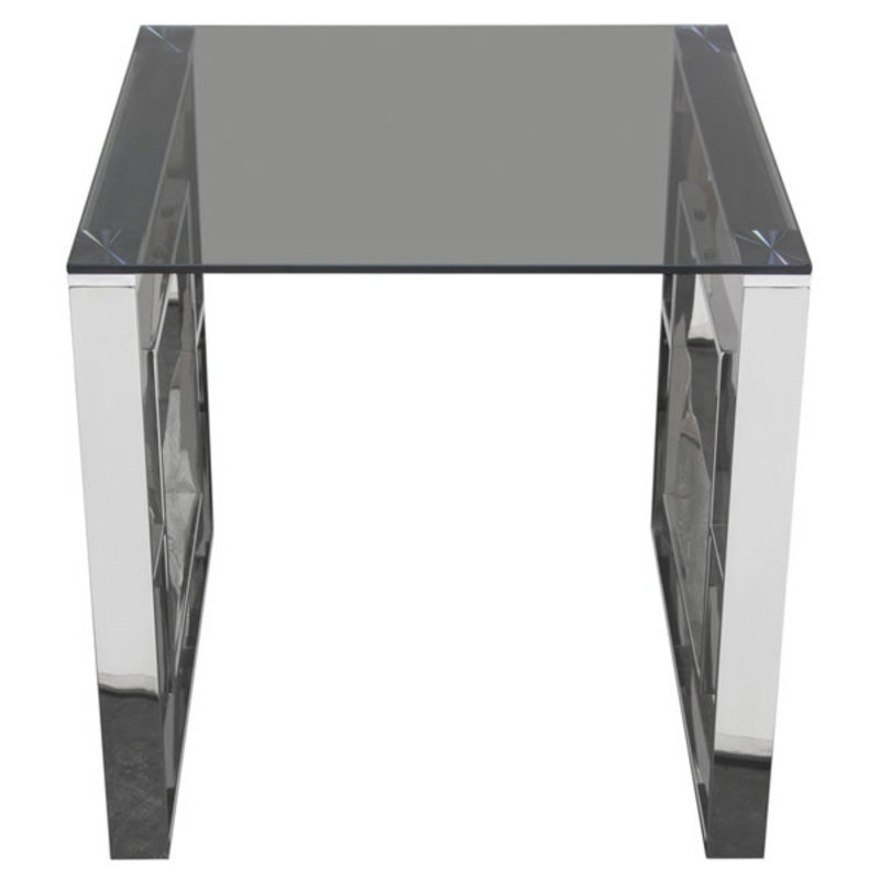 Diamond Sofa Muse SS End Table w/ Smoked Glass