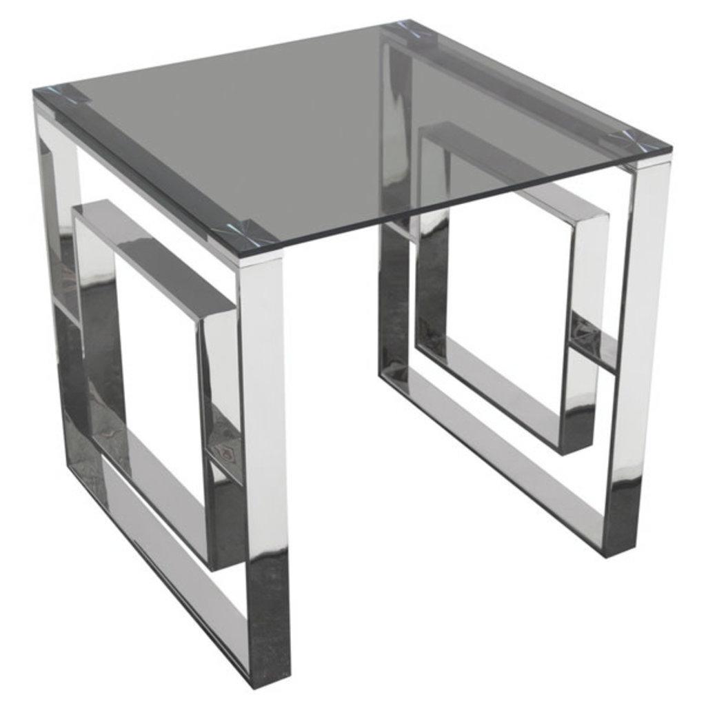 Diamond Sofa Muse SS End Table w/ Smoked Glass
