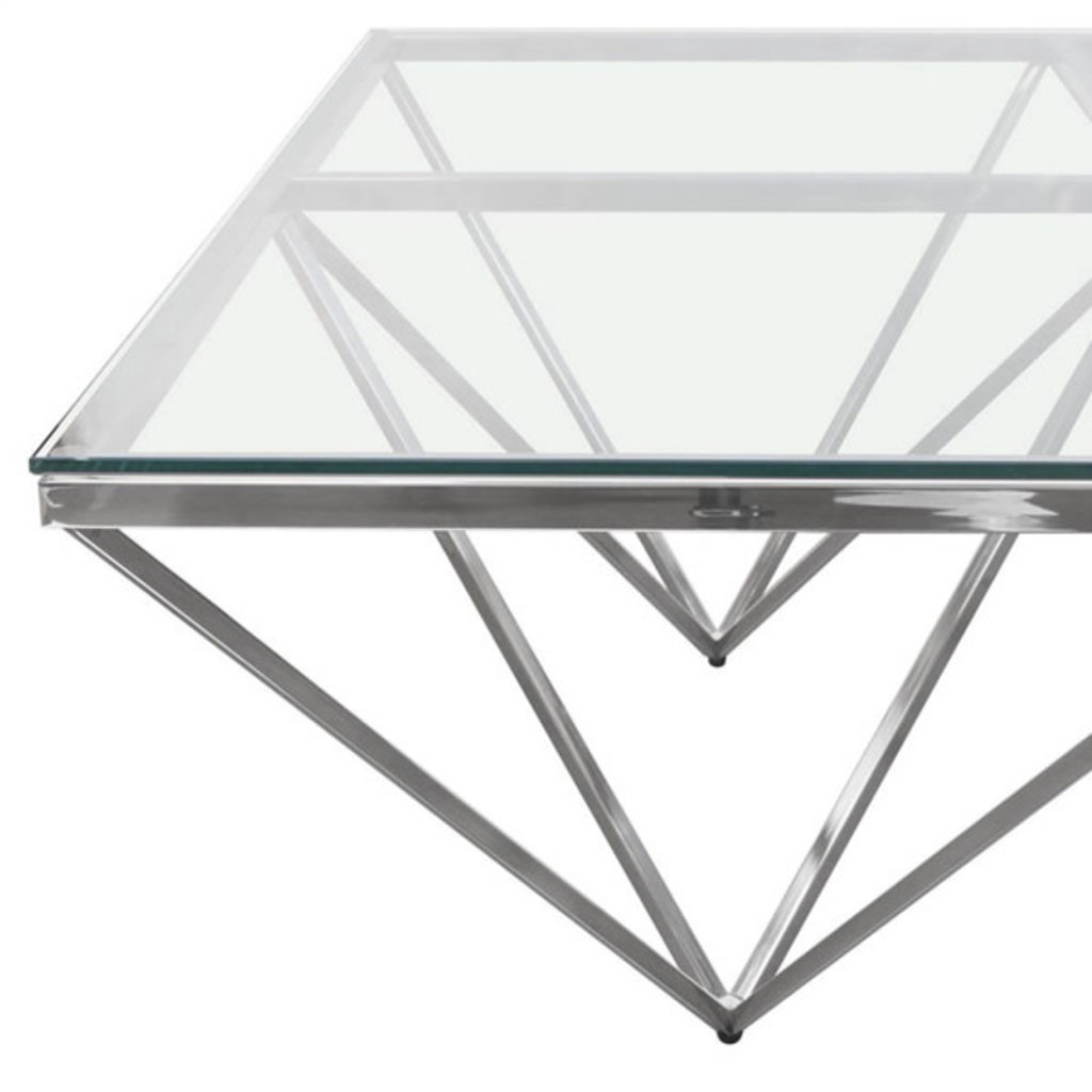 Diamond Sofa Omni Coffee Table Glass / Polished Silver
