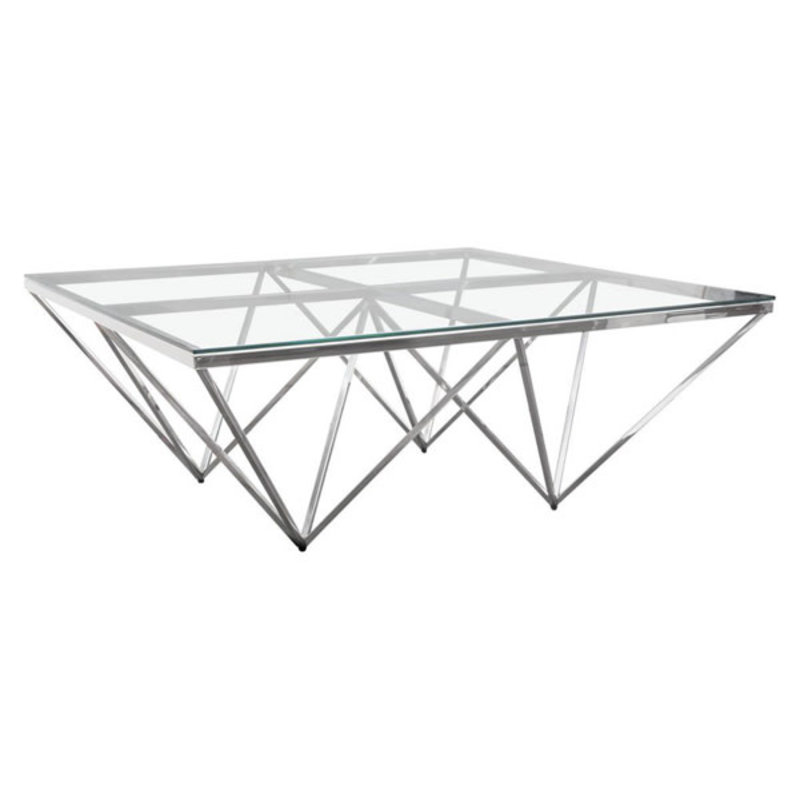 Diamond Sofa Omni Coffee Table Glass / Polished Silver