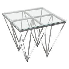 Diamond Sofa Omni Side Table Glass / Polished Silver