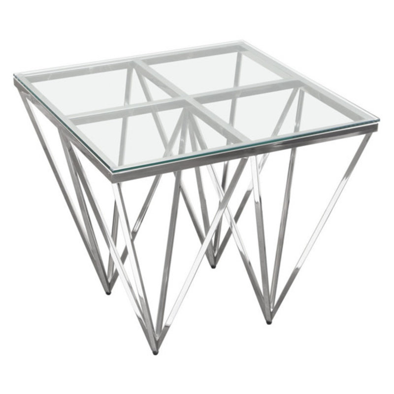 Diamond Sofa Omni Side Table Glass / Polished Silver