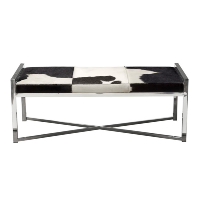 Diamond Sofa Mystique  Bench Cow Hide White Black
