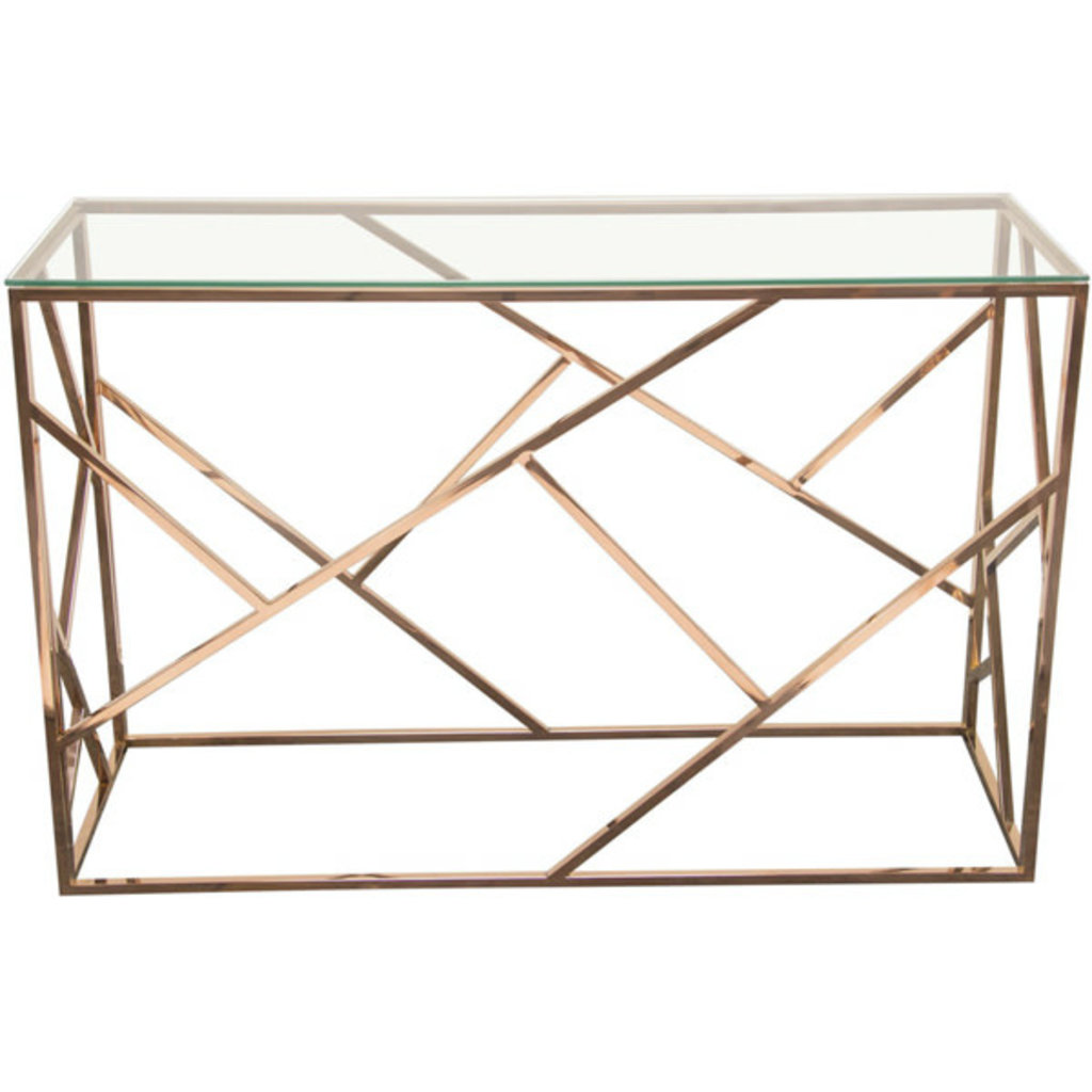 Diamond Sofa Nest Console Rose Gold Clear Glass