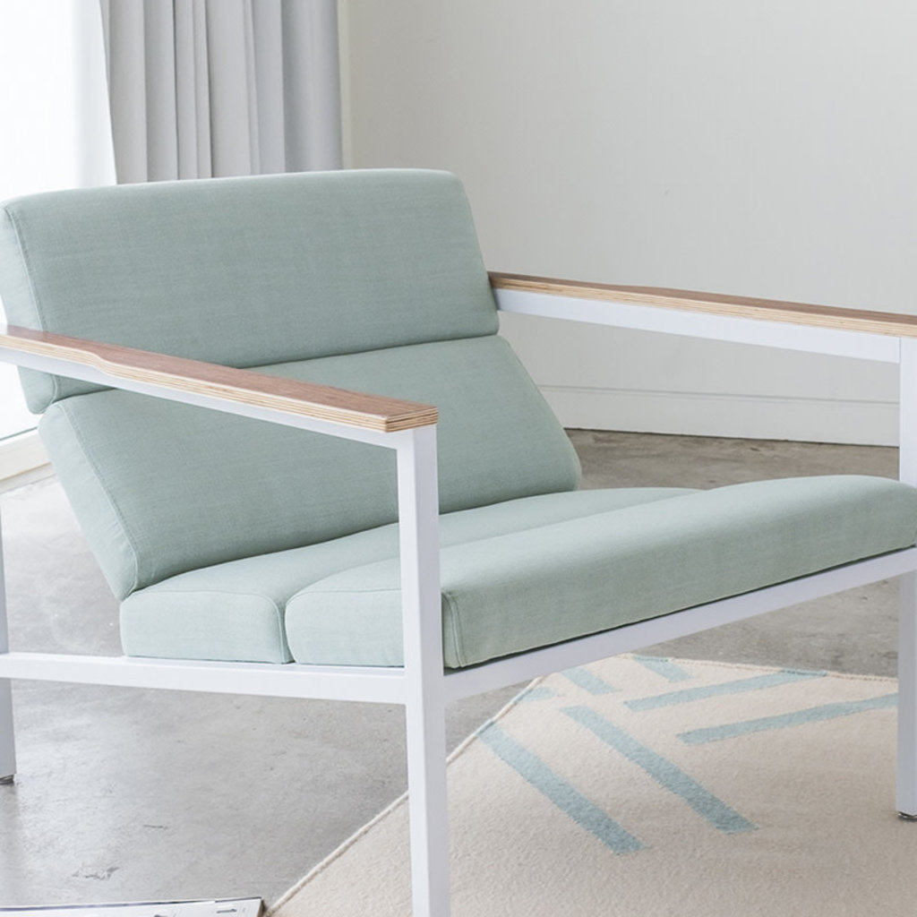 Gus Modern Halifax Chair White powder coat Berkeley Mint