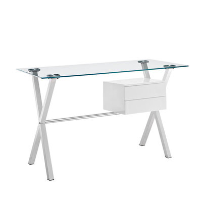 Modway Stasis Glass Top Office Desk in White