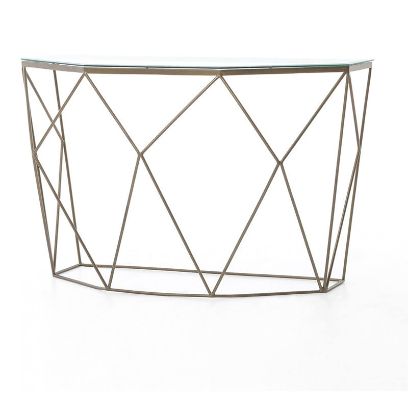 Four Hands Geometric Console Table-Antique Brass