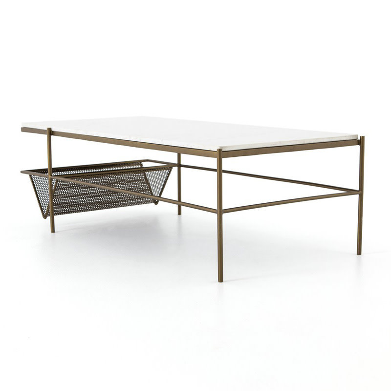 Four Hands Felicity Coffee Table-Iron Matte Brass