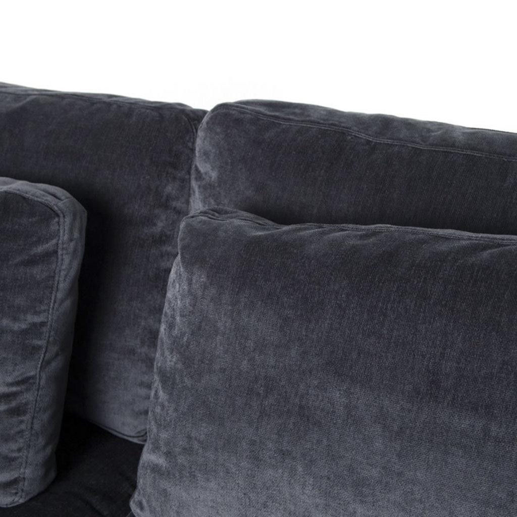 """Four Hands Bloor Sofa-98""""-Charcoal Worn Velvet"""