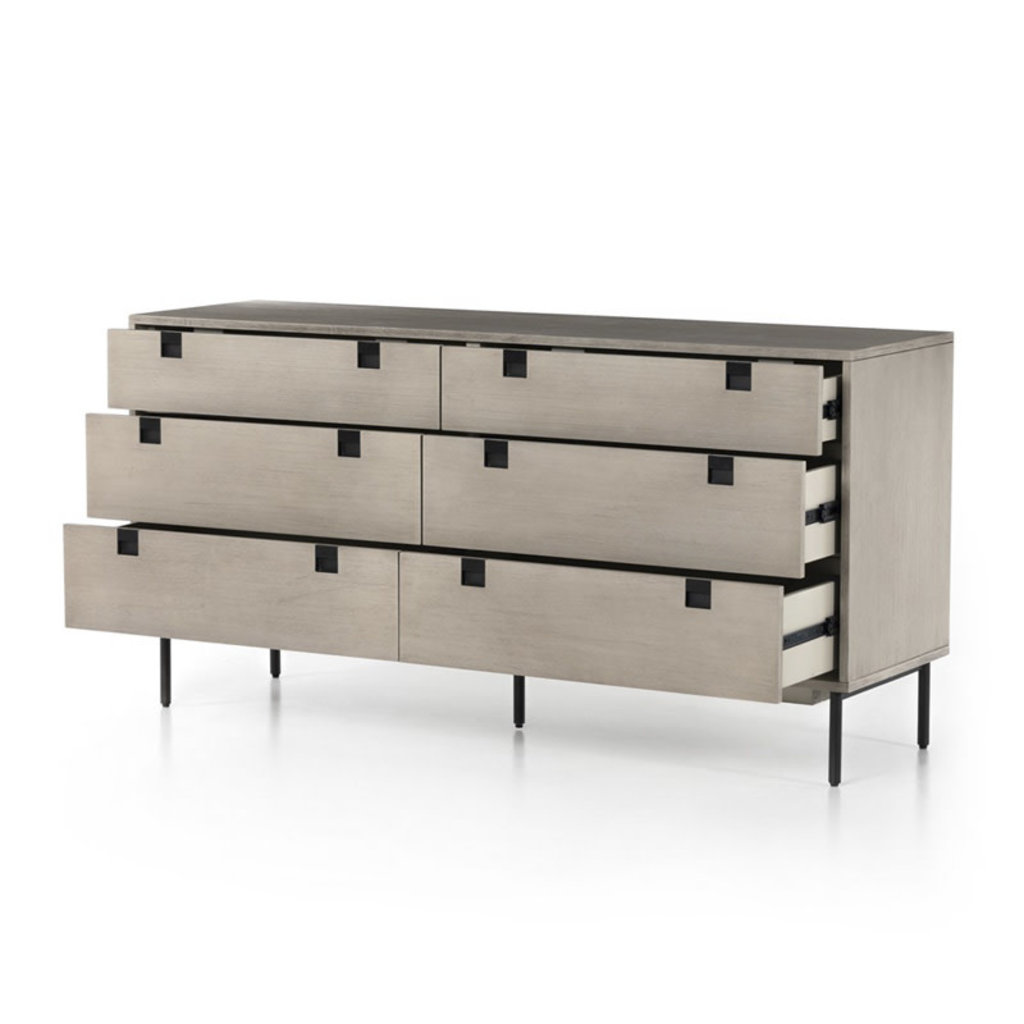 Four Hands Carly 6 Drawer Dresser-Grey Wash