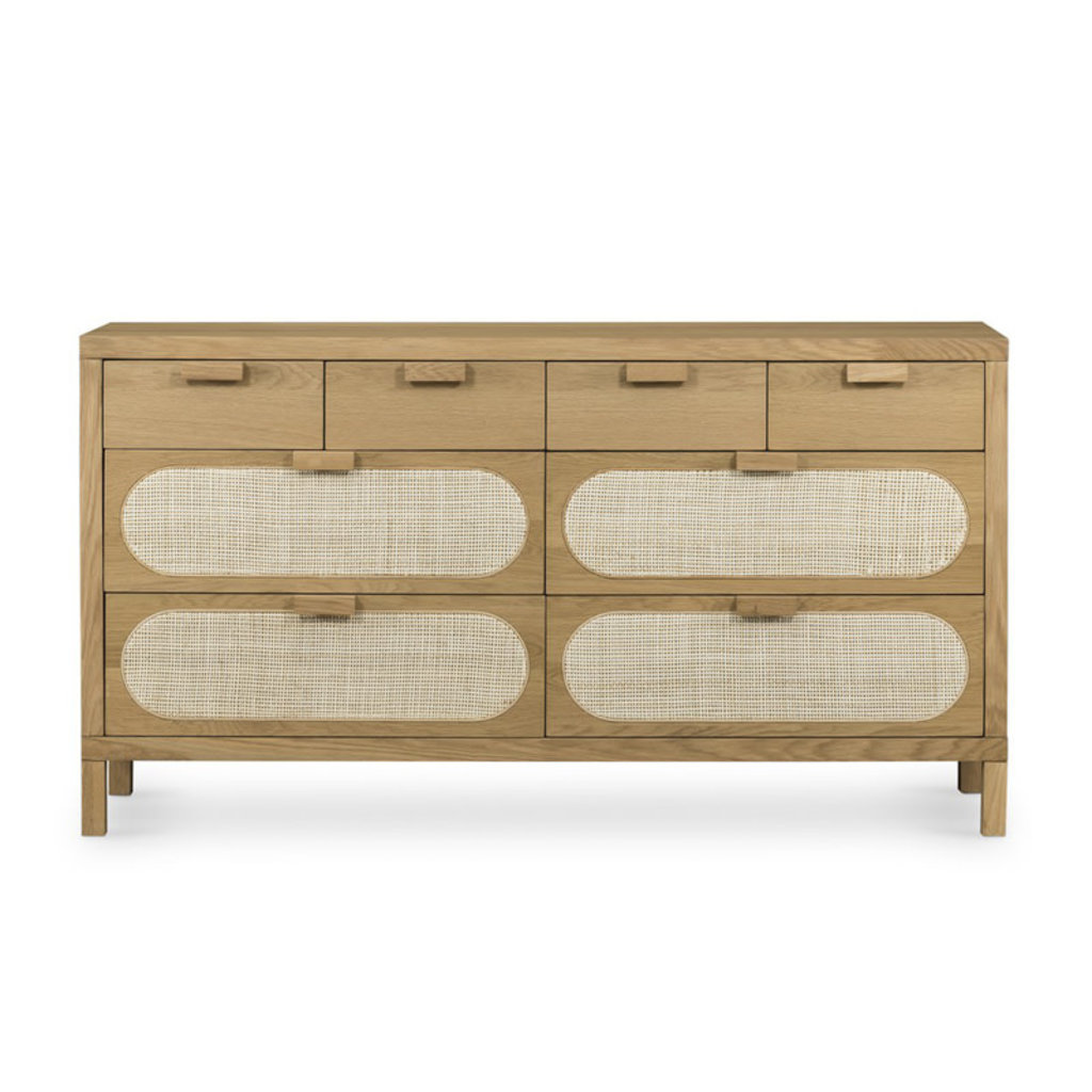 Four Hands Allegra 8 Drawer Dresser-Natural Cane