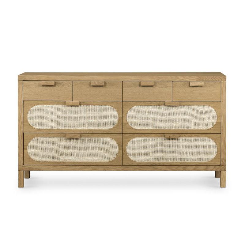 Four Hands Allegra 8 Drawer Dresser-Natural Cane