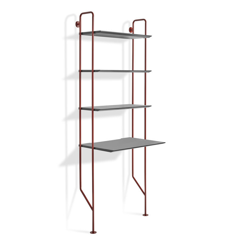 BluDot Hitch Bookcase and Desk Red/Black