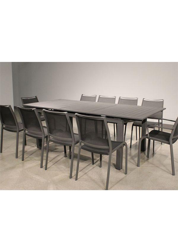 White Line Alum indoor / Outdoor Extendable Dining Table Grey aluminium