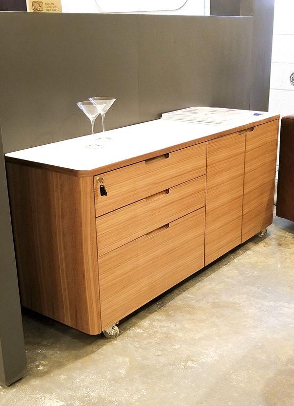 Kronos credenza satin white natural walnut mobile direct furniture outlet - Mobile credenza ...