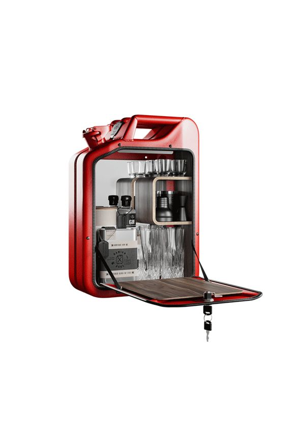 Fashion Metal CO Bar Cabinet Gas Red