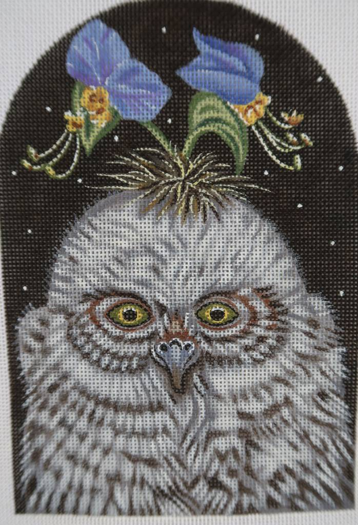 Owl with Blue Flowers