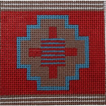 Red and Blue Geometric Coaster