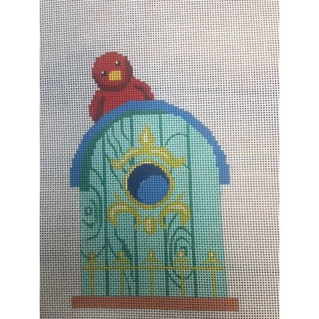 Turquoise Birdhouse with Red Bird