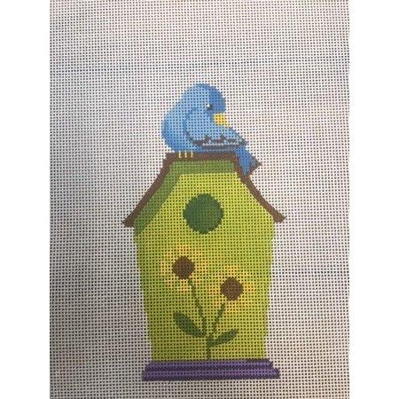 Green Birdhouse with Blue Bird