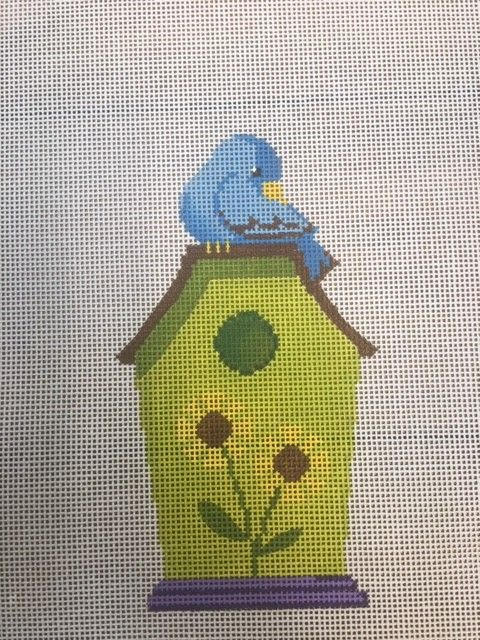 Green Birdhouse with Blue Bird