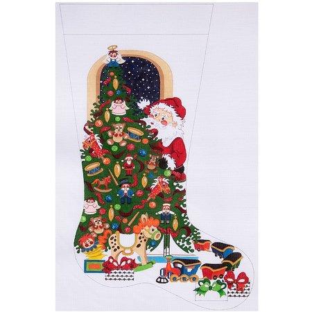 Santa Behind Christmas Tree