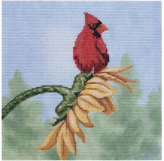 Cardinal on Sunflower