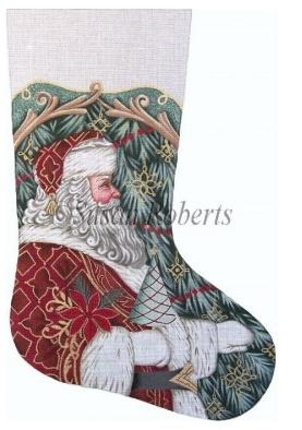 Santa with Tree & Poinsettia