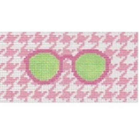 Eyeglass case - Green with pink houndstooth